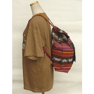 AB-031-M05 デイバッグ マンタ 民族織物 インカ柄 アルパカ柄 インディオ柄|elgusto