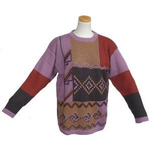 ALC-001 アウトレット 安価 アルパカ100%セーター 男性 ナスカ柄 コンドル柄 インカ柄|elgusto