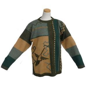 ALC-002 アウトレット 安価 アルパカ100%セーター 男性 ナスカ柄 コンドル柄 インカ柄|elgusto