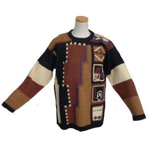 ALC-003 アウトレット 安価 アルパカ100%セーター 男性 ナスカ柄 コンドル柄 インカ柄|elgusto
