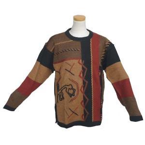 ALC-004 アウトレット 安価 アルパカ100%セーター 男性 ナスカ柄 コンドル柄 インカ柄|elgusto