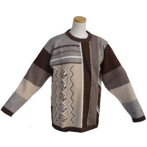 ALC-005 アウトレット 安価 アルパカ100%セーター 男性 ナスカ柄 コンドル柄 インカ柄|elgusto