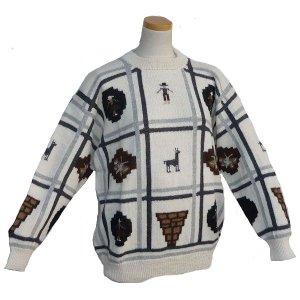 ALC-021-1 アルパカ100%セーター 男性 丸首 インディオ柄 アルパカ柄 インカ柄 暖かい|elgusto