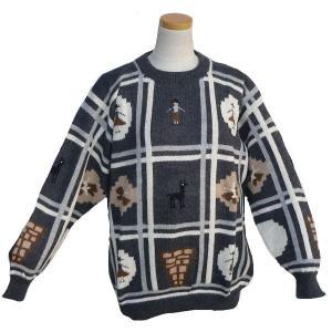 ALC-021-2 アルパカ100%セーター 男性 丸首 インディオ柄 アルパカ柄 インカ柄 暖かい|elgusto