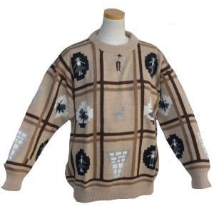 ALC-021-3 アルパカ100%セーター 男性 丸首 インディオ柄 アルパカ柄 インカ柄 暖かい|elgusto