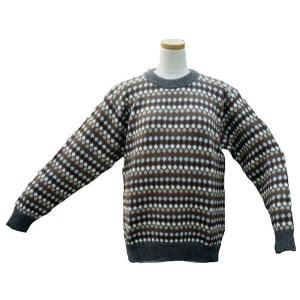 ALC-029-3 アルパカ100%セーター 男性 丸首 伝統柄 水玉柄 暖かい|elgusto