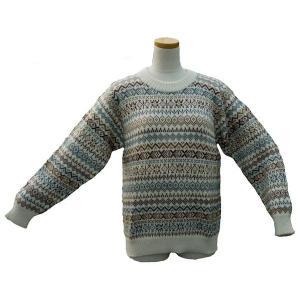 ALC-030-1 アルパカ100%セーター 男性 丸首 伝統柄 トラディショナル柄 暖かい|elgusto