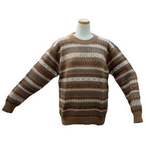 ALC-030-2 アルパカ100%セーター 男性 丸首 伝統柄 トラディショナル柄 暖かい|elgusto