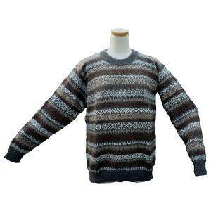 ALC-030-3 アルパカ100%セーター 男性 丸首 伝統柄 トラディショナル柄 暖かい|elgusto