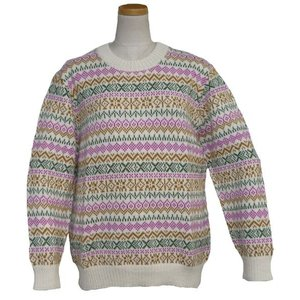 ALC-036-1 アルパカ100%セーター 女性 丸首 伝統柄 トラディショナル柄 暖かい|elgusto