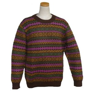 ALC-036-2 アルパカ100%セーター 女性 丸首 伝統柄 トラディショナル柄 暖かい|elgusto