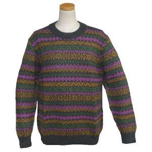 ALC-036-3 アルパカ100%セーター 女性 丸首 伝統柄 トラディショナル柄 暖かい|elgusto