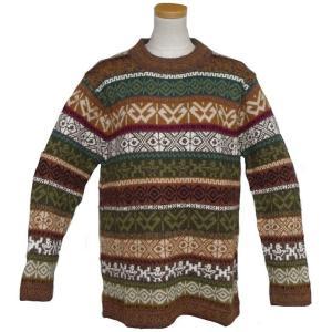 ALC-072 アルパカ100%セーター 男性 丸首 幾何学柄 インカ柄 暖かい|elgusto