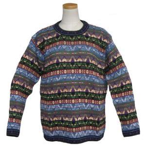 ALC-073 アルパカ100%セーター 男性 丸首 幾何学柄 インカ柄 暖かい|elgusto