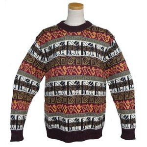 ALC-074 アルパカ100%セーター 男性 丸首 幾何学柄 インカ柄 暖かい|elgusto