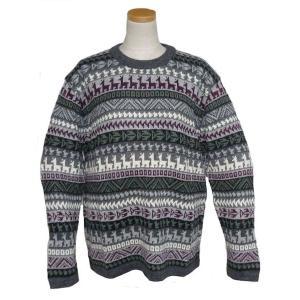 ALC-075 アルパカ100%セーター 男性 丸首 幾何学柄 インカ柄 暖かい|elgusto