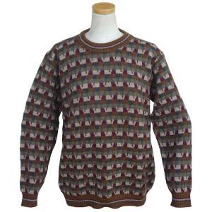ALC-076 アルパカ100%セーター 男性 丸首 幾何学柄 インカ柄 暖かい|elgusto