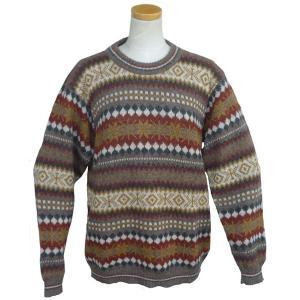ALC-077 アルパカ100%セーター 男性 丸首 幾何学柄 インカ柄 暖かい|elgusto