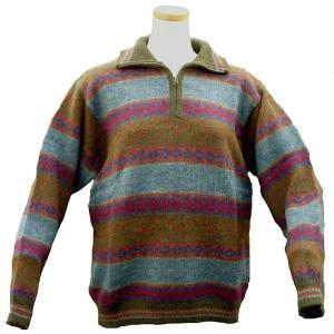 ALCF-013 アルパカ100%セーター ファスナー付 丸首 幾何学柄 男性 暖かい 綺麗|elgusto
