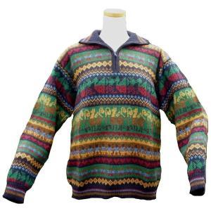 ALCF-014 アルパカ100%セーター ファスナー付 丸首 幾何学柄 男性 暖かい 綺麗|elgusto