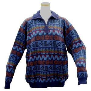 ALCF-015 アルパカ100%セーター ファスナー付 丸首 幾何学柄 男性 暖かい 綺麗|elgusto