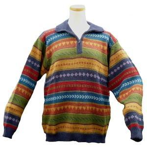 ALCF-016 アルパカ100%セーター ファスナー付 丸首 幾何学柄 男性 暖かい 綺麗|elgusto