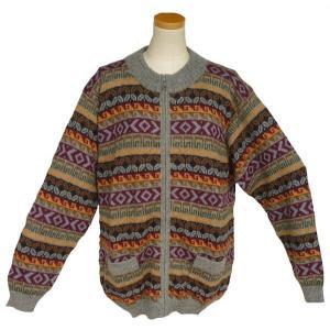 ALCF-021 アルパカ100%セーター ファスナー付 丸首 幾何学柄 男性 暖かい 綺麗|elgusto