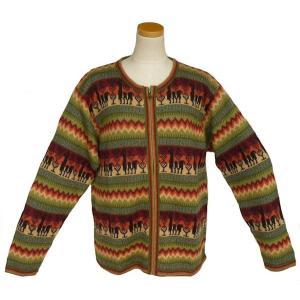 ALCF-022 アルパカ100%セーター ファスナー付 丸首 幾何学柄 男性 暖かい 綺麗|elgusto
