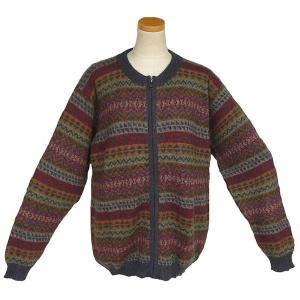 ALCF-023 アルパカ100%セーター ファスナー付 丸首 幾何学柄 男性 暖かい 綺麗|elgusto