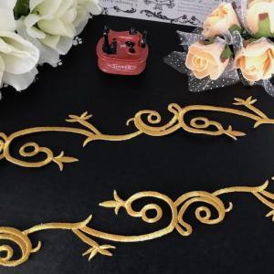 アップリケ ゴールド 刺繍ワッペン ブレード レオタードモチーフ アイロンワッペン アイロン接着 アップリケワッペン パーツ バトントワリング