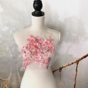 チュールモチーフ ピンク パール付 キラキラ 3D 花 刺繍 手作り 衣装 装飾