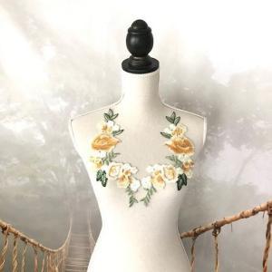 バラ 刺繍 モチーフ イエロー ペアセット 衣装 ダンス 装飾 ハンドメイド