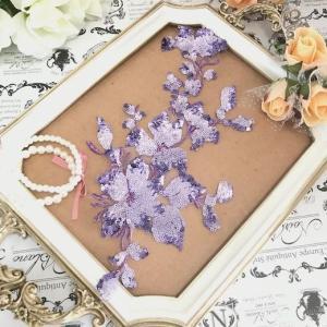 チュールに豪華なパープルの スパンコールの花を施したモチーフになります。 シンプルな衣装に縫い付ける...