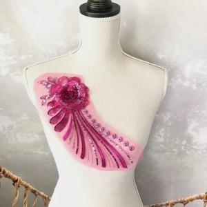 モチーフ 3D 花 ピンク 刺繍 チュール ハンドメイド 衣装 装飾