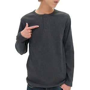 アヴィレックス  AVIREX Tシャツ メンズ 長袖 ヘンリーネック 無地 リブ 秋 4color M チャコール|ellies-os