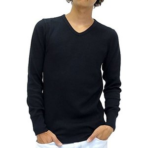 アヴィレックス  AVIREX Tシャツ メンズ 長袖 ロンT 無地 Vネック ワッフル 4color L ブラック|ellies-os