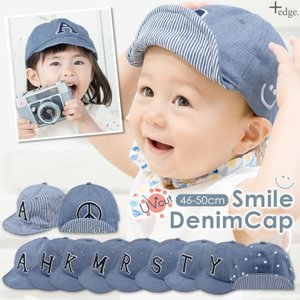 ベビー キッズ キャップ 46-50cm 帽子 UVカット 紫外線対策 2way デニム スウェット 赤ちゃん ユニセックス