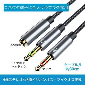 マイク付きイヤホン 変換ケーブル 4極メス - 3極オス×2 パソコン ノートパソコン 金メッキ|elukshop