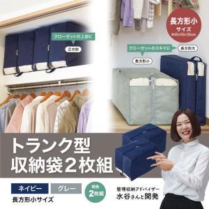 収納 布団 衣類 収納ボックス 布 衣類収納袋  水谷妙子 トランク型収納袋 新生活  おしゃれ 長方形小サイズ 2枚組|elva