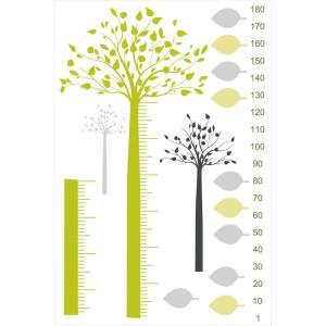 ウォールステッカー 身長計 記念 目盛り 子供部屋 木 葉っぱ 記念 北欧 90×60cm シール式 装飾 おしゃれ 壁紙 はがせる