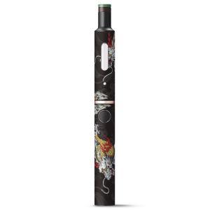 プルームテック ploom tech + Plus プラス 専用 デザインスキンシール フィルム ステッカー アクセサリー 電子たばこ 和風 和柄 虎 龍 黒 ブラック 008675|emart