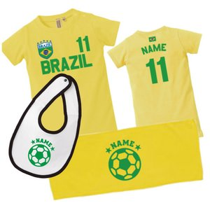ブラジル 出産祝い サッカー 名入れ 3点セット ロンパース タオル よだれかけ
