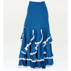 フラメンコ 無地ラッフルレース ファルダスカート ブルー  1782bl|emika