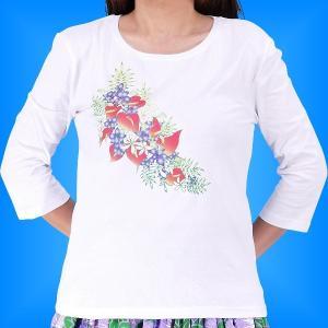 フラダンス 7分袖 Tシャツ アンスリューム ホワイト 3L 1787-3lw emika