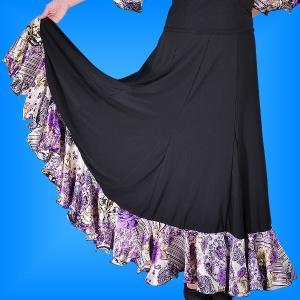 フラメンコ ローズ&ペイズリーフリル ファルダスカート ブラック フリーサイズ 1900b|emika