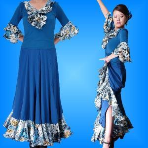 フラメンコ ローズ&ペイズリーフリル セットアップ ブルー 1902bl|emika