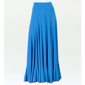 フラメンコ 無地 裾フリル ファルダ スカート ブルー フリーサイズ 2034bl|emika