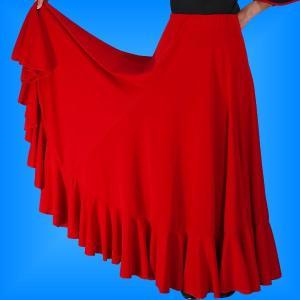 フラメンコ 無地 裾フリル ファルダ スカート レッド フリーサイズ 2034r|emika