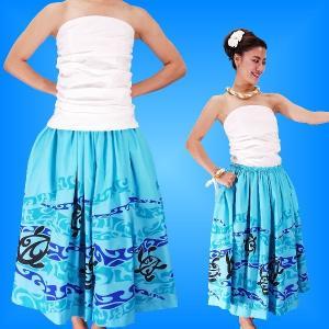 フラダンス 衣装 パウスカート&ドレーピングチューブトップ セット ブルー 2082bl emika