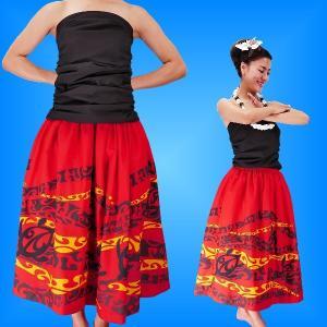 フラダンス 衣装 パウスカート&ドレーピングチューブトップ セット レッド 2082r emika